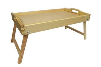 (Natural Wood) - Bed Tray - Wooden Lap Tray Breakfast in Bed Serving with Folding Legs Table Mate Wipe (Natural Wood)