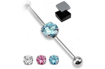 (Blue) - ~ Gift Boxed ~ Industrial Scaffold Piercing Bar Round Gem centre 38mm barbell in Pink ~ Blue ~ Clear