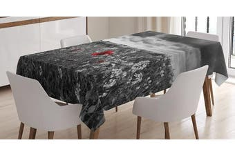 (150cm  W By 230cm  L, Multi 17) - Red and Black Tablecloth by Ambesonne, Poppy Field Spring Time Flower Grass Open Sky Photo, Dining Room Kitchen Rectangular Table Cover, 60W X 90L Inches, White Charcoal Grey and Light Grey