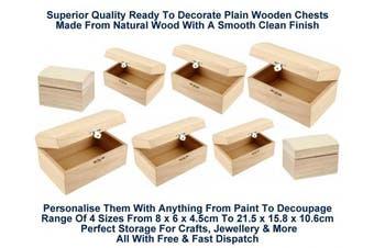 (Brown) - Plain Wooden Treasure Chests Storage Chest Decoupage Art Craft Jewellery Box