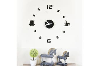 Acrylic Coffee Wall Clock Art Decals Home Decoration Living Bedroom Office Décor