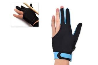 (Sky Blue) - Ace Select Billiard Pool Cue Glove 1 Piece, 3 Fingers Elastic Lycra Stretchable Snooker Glove