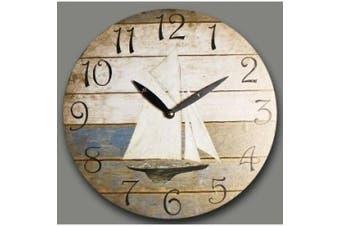 Wall Clock Design Sailing Boat Kitchen Clock Round Shape 28,5cm Diameter Modern