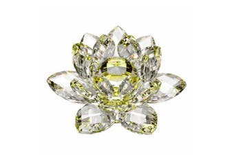 (10cm ) - 10cm Amlong Crystal Yellow Hue Reflection Crystal Lotus Flower with Gift Box