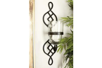 (18cm  by 70cm ) - Deco 79 Metal Glass Candle Sconce, 18cm by 70cm