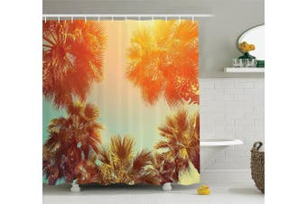 (180cm  W By 190cm  L, Multi 24) - Palm Tree Decor Shower Curtain by Ambesonne, Trees Sunlights Tranquilly in Tropical Nature Landscape at Summer Theme, Fabric Bathroom Decor Set with Hooks, 190cm Long, Orange Green
