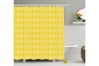 (180cm  W By 190cm  L, Multi 2) - Yellow Decor Shower Curtain by Ambesonne, Quatrefoil Moroccan Themed Oval Geometric Ombre Pattern Artwork, Fabric Bathroom Decor Set with Hooks, 190cm Long, Yellow Merigold and White
