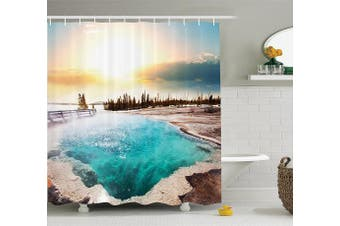 (180cm  W By 210cm  L, Multi 7) - Yellowstone Decor Shower Curtain Set by Ambesonne, Hot Springs in Yellowstone National Park Sunshine Clouds Magical Earth Mother Nature, Bathroom Accessories, 210cm Extralong, Turquoise