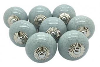 Grey Crackle Round Ceramic Door Knobs Vintage Shabby Chic Cupboard Drawer Pull G