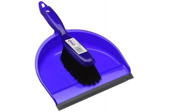 Abbey DPBSBLU Plastic Dustpan and Brush Set, Blue
