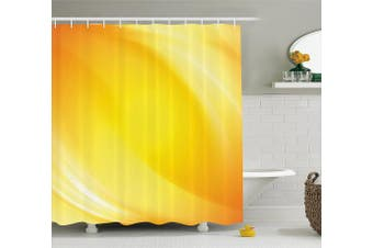 (180cm  W By 210cm  L, Multi 2) - Yellow Decor Shower Curtain by Ambesonne, Radiate Yellow Light Lines like Sand with Ombre White Digital Reflection, Fabric Bathroom Decor Set with Hooks, 210cm Extra Long, Yellow and White