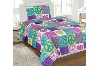 (Twin) - Twin Size Mk Collection 3pc Sheet Set Pink Purple Teel Zebra Leopard Heart Peace Sign Teens/girls New