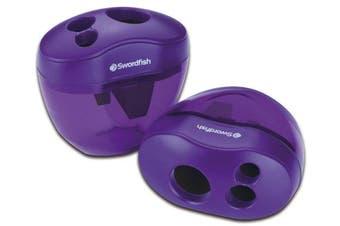 (pack of 1, Purple) - Swordfish The Triple 3 Hole Canister Pencil Sharpener (Single) - Purple, Pack of 1