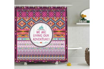 (180cm  W By 190cm  L, Multi 1) - Ethnic Decor Shower Curtain by Ambesonne, Tribal Striped Geometric Design with a Quote We are Living Our Adventure Print, Fabric Bathroom Decor Set with Hooks, 190cm Long, Multicolor