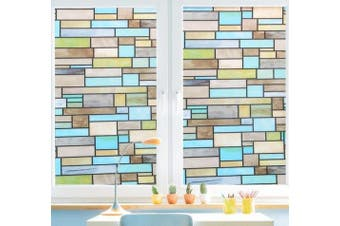 (Brick) - Niviy Privacy Window Covering Brick Stained Glass Window Film Waterproof Static Window Cling, 45cm by 200cm No Adhesive Glass Window Decor for Bathroom/Kids Room/Sliding Door, 1 Roll