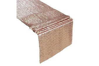 (30cm  by 270cm , Rose Gold) - Sequin Table Runners ROSE GOLD- 30cm X 270cm Glitter ROSE GOLD Table Runner-ROSE GOLD Party Supplies Fabric Decorations For Wedding Birthday Baby Shower