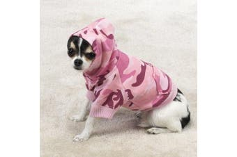 (Medium, Pink) - Casual Canine Cotton Camo Dog Hoodie