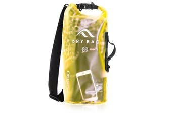 (20 Litre, Bright Yellow - Transparent) - Acrodo Dry Bag Transparent & Waterproof - 10 & 20 Litre Floating Sack for Beach, Kayaking, Swimming, Boating, Camping, Travel & Gifts