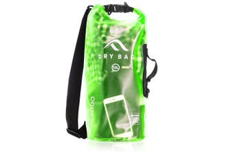 (20 Litre, Fresh Green - Transparent) - Acrodo Dry Bag Transparent & Waterproof - 10 & 20 Litre Floating Sack for Beach, Kayaking, Swimming, Boating, Camping, Travel & Gifts