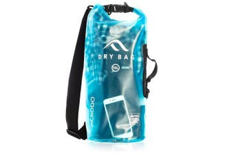 (20 Litre, Arctic Blue - Transparent) - Acrodo Dry Bag Transparent & Waterproof - 10 & 20 Litre Floating Sack for Beach, Kayaking, Swimming, Boating, Camping, Travel & Gifts