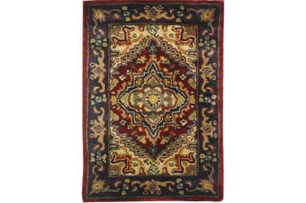 (0.6m x 0.9m, Assorted / Red) - Safavieh Classic Collection CL225A Handmade Traditional Oriental Multicoloured and Red Wool Area Rug (0.6m x 0.9m)
