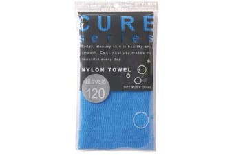Cure Series Japanese Exfoliating Bath Towel From Ohe - Super Hard Weave Blue, 12