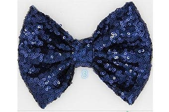 (15cm  with clip, Navy) - 10cm and 15cm Girls Sequin Glitter Sparkle Hair Bow Clip Pin Headband Alice band Accessories (15cm with clip, Navy)