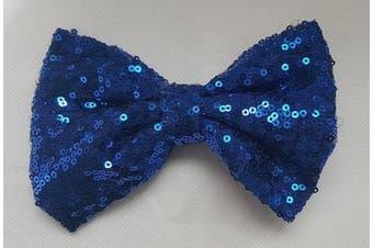 (10cm  with clip, Royal Blue) - 10cm and 15cm Girls Sequin Glitter Sparkle Hair Bow Clip Pin Headband Alice band Accessories (10cm with clip, Royal Blue)