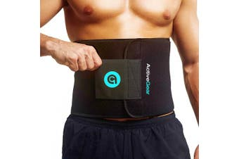 (Large, Blue) - ActiveGear Waist Trimmer Belt Slim Body Sweat Wrap for Stomach and Back Lumbar Support