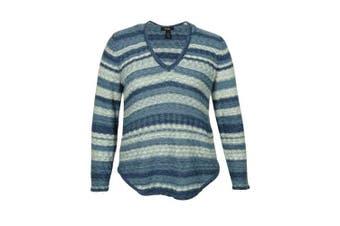 (bluecombo, 0x, plus) - Style & Co Women's Striped Marled V-Neck Sweater