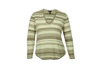 (trufflecombo, 1x, plus) - Style & Co Women's Striped Marled V-Neck Sweater