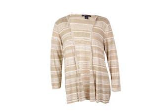 (neutralcombo, petite, petite) - Style & Co. Women's Striped Hooded Cotton Cardigan