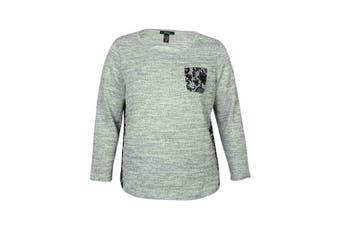 (0x, plus) - Style & Co Women's Lace Print Sweater