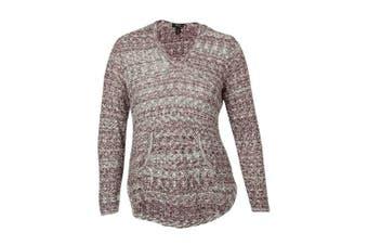 (orchidvine, 0x, plus) - Style & Co Women's V-Neck Marled Hooded Sweater