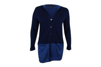 (indigobluecombo, 1x, plus) - Style & Co. Women's Colorblocked Hooded Cardigan