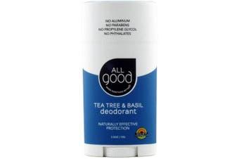 (70ml, Tea Tree) - All Good Deodorant for Women, Men, & Kids - Organic Ingredients & Essential Oils - Aluminium Free - Non GMO - Vegan - 70ml Stick (Tea Tree & Basil)