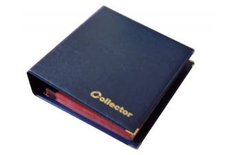 (Album for 221 coins, Blue) - Collector Coin Album for Mix sizes coins from small till large coin - with pages and red dividers + index (Album for 221 coins, Blue)