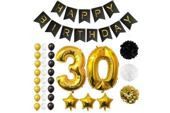 (Age 30) - BELLE VOUS Happy Birthday Party Balloons, Supplies & Decorations All-in-One Set - Large 30 Years Foil Balloon - Latex Balloon Decoration - Decor Suitable for All Adults (Age 30)