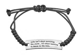 (Life shamballa black) - Angelus Inspirational Bracelets - Real Leather - Engraved in Black - Makes a Lovely Gift - Shipped from UK