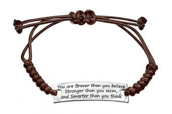 (braver brown) - Angelus Inspirational Bracelets - Real Leather - Engraved in Black - Makes a Lovely Gift - Shipped from UK