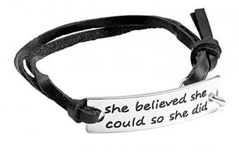 (she believe black) - Angelus Inspirational Bracelets - Real Leather - Engraved in Black - Makes a Lovely Gift - Shipped from UK