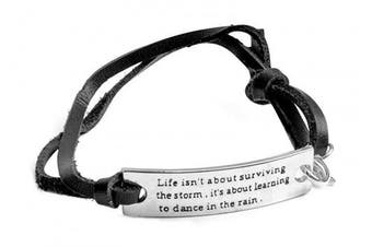 (Life black) - Angelus Inspirational Bracelets - Real Leather - Engraved in Black - Makes a Lovely Gift - Shipped from UK