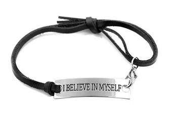 (believe black) - Angelus Inspirational Bracelets - Real Leather - Engraved in Black - Makes a Lovely Gift - Shipped from UK