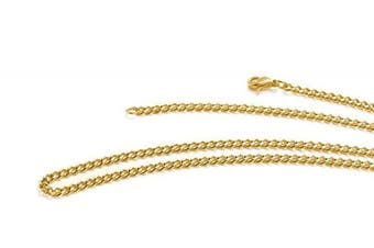 (30.0 inches) - Aplstar 18ct Gold Necklace 3.5mm thick Curb Chain Size: 16 18 20 22 24 30 inch/40 45 50 55 60 75cm