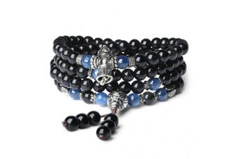 (Kyanite) - COAI 108 Mala Beads Obsidian Tibetan Prayer Wrap Bracelet Necklace