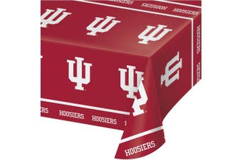(Beverage Napkin) - Creative Converting Indiana University Plastic Table Cover, 140cm by 270cm