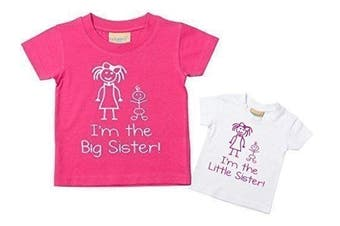 (Little 0-6 Months Big 7-8 Years) - I'm The Little Sister I'm The Big Sister Tshirt Set Baby Toddler Kids Available in Sizes 0-6 Months to 14-15 Years New Baby Sister Gift