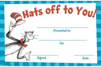 (Hats Off To You) - Eureka Cat in the Hat Hats Off to You! Set of 36 Recognition Awards