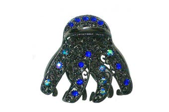 (blue) - Crystal Jaw Clip for Thick Hair, Nick Colour Plating, Sapphire Blue Sparking Stones YY86410-GL56nblue