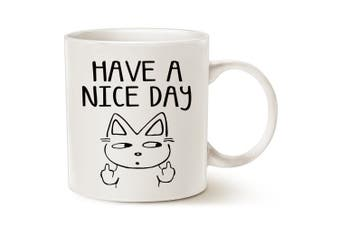 (Nice Cat) - Funny Cat Coffee Mug for Cat Lovers, Have A Nice Day Cute Cat with Middle Finger, Best Gag Christmas Gifts Porcelain Cup White, 410ml by LaTazas
